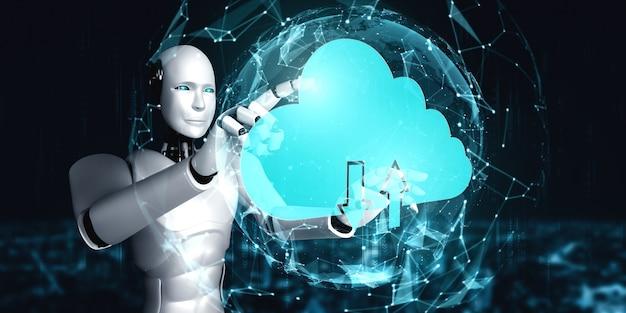 Robot ai che utilizza la tecnologia del cloud computing per archiviare i dati su un server online