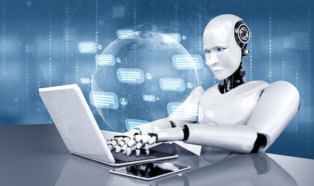 Robot ai che utilizza il computer per chattare con il cliente. concetto di chat bot