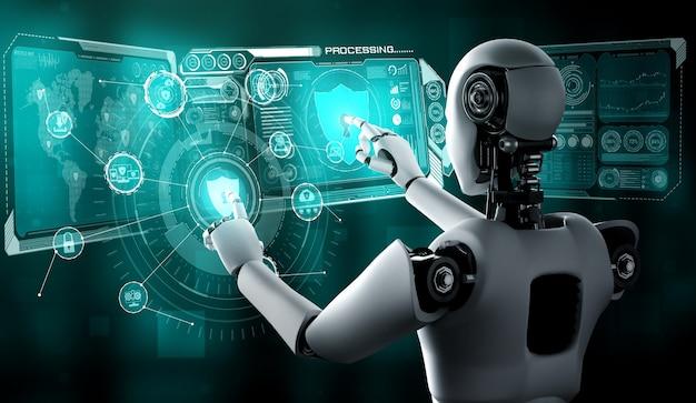 Robot con intelligenza artificiale che utilizza la sicurezza informatica per proteggere la privacy delle informazioni. concetto futuristico di prevenzione del crimine informatico tramite intelligenza artificiale e processo di apprendimento automatico. illustrazione di rendering 3d.