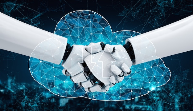 Robot con intelligenza artificiale che utilizza la sicurezza informatica per proteggere la privacy delle informazioni. concetto futuristico di prevenzione della criminalità informatica tramite intelligenza artificiale e processo di apprendimento automatico. illustrazione rendering 3d.