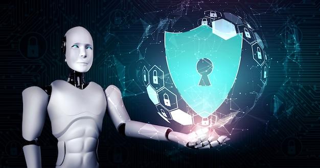 Robot ai che utilizza la sicurezza informatica per proteggere la privacy delle informazioni