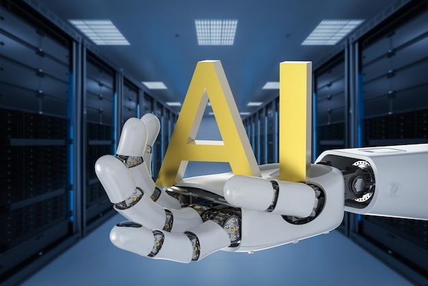 Concetto di tecnologia ai con rendering 3d robot umanoide con testo ai