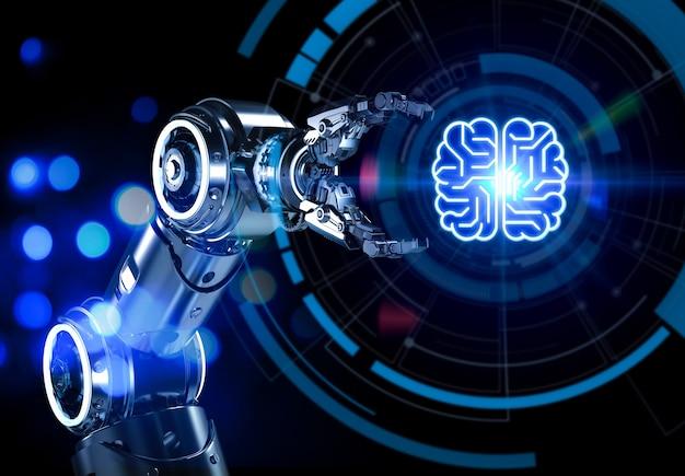 Concetto di tecnologia ai con braccio robotico di rendering 3d con cervello a circuito