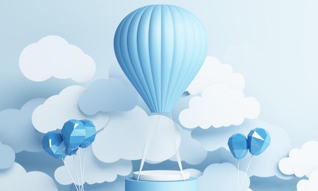 Stile di arte di carta dell'aerostato di aria con la rappresentazione pastello blu del fondo del cielo 3d