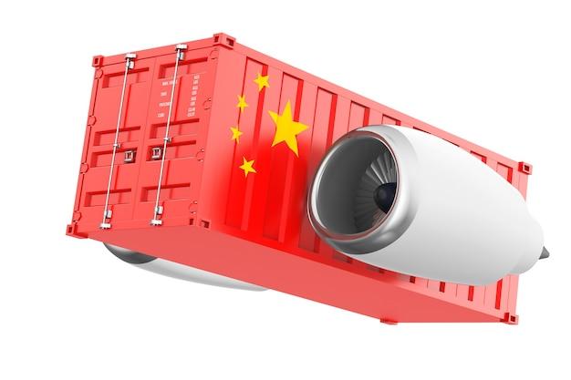 Motore a reazione degli aerei con il contenitore di spedizione della bandiera della cina su un fondo bianco. rendering 3d