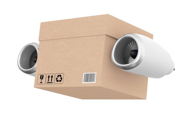 Motore a reazione degli aerei con la scatola di consegna espressa su un fondo bianco. rendering 3d