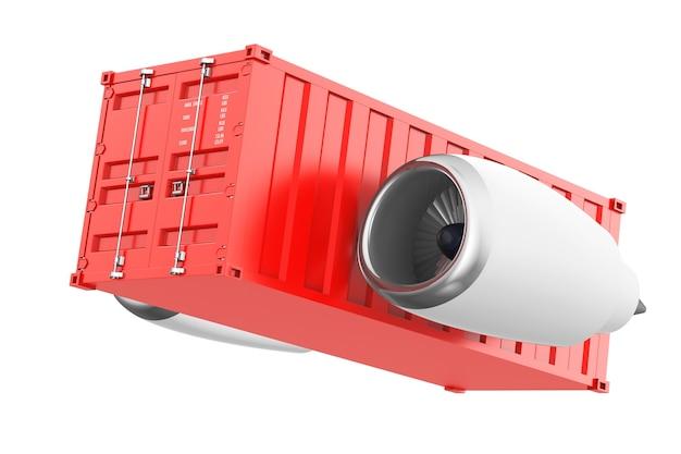 Motore a reazione degli aerei con il contenitore di spedizione su un fondo bianco. rendering 3d