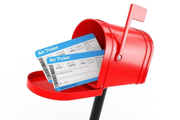 Biglietti d'imbarco aerei nella cassetta postale rossa su sfondo bianco. rendering 3d