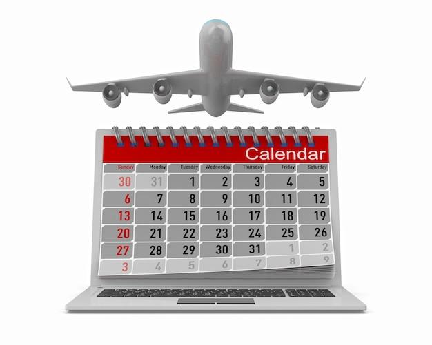 Aeroplano e calendario isolato su bianco. 3d'illustrazione