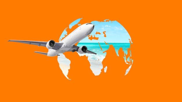 Aereo che vola intorno alla mappa del mondo. concetto di viaggio