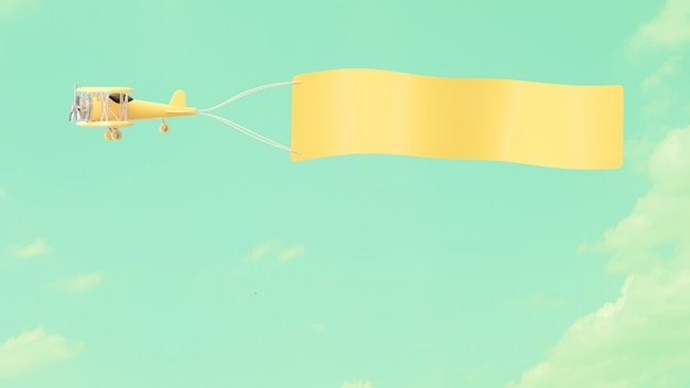 Modello di aeroplano pastello giallo