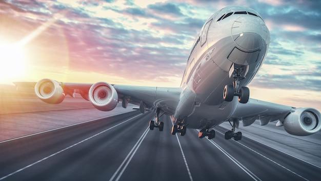 Aereo in decollo dall'aeroporto. rendering 3d e illustrazione.