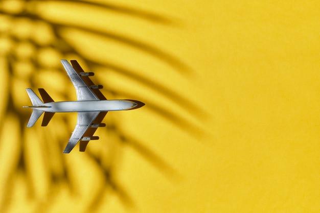 Aeroplano su giallo con un'ombra di una palma su