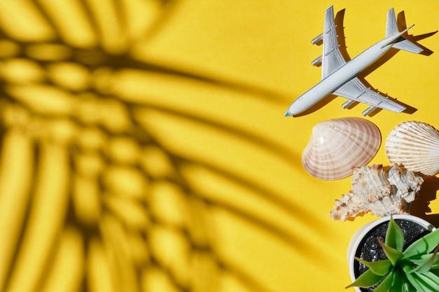 Aeroplano su giallo con un'ombra delle palme e delle coperture come concetto di vacanza