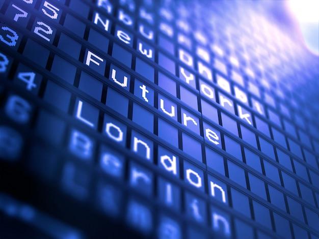 Tabellone segnapunti dell'aeroporto con la parola futura - concetto 3d di affari.