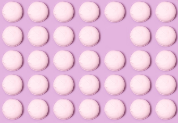 Marshmallow alla vaniglia dolce ariosi sul rosa