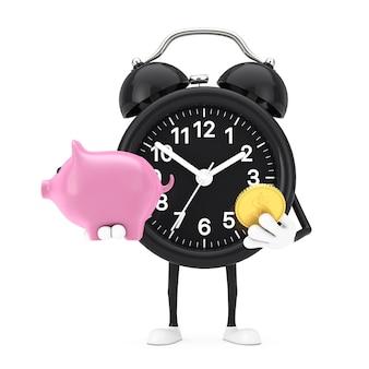Mascotte del carattere della sveglia con il porcellino salvadanaio e la moneta dorata del dollaro su un fondo bianco. rendering 3d