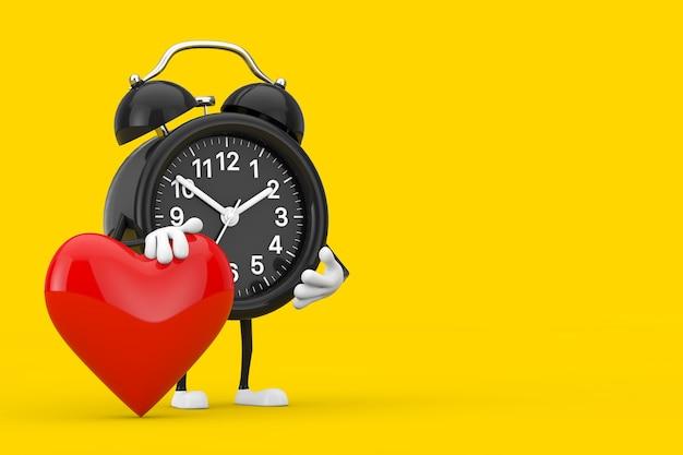 Mascotte del carattere della sveglia con il cuore rosso su una priorità bassa gialla. rendering 3d