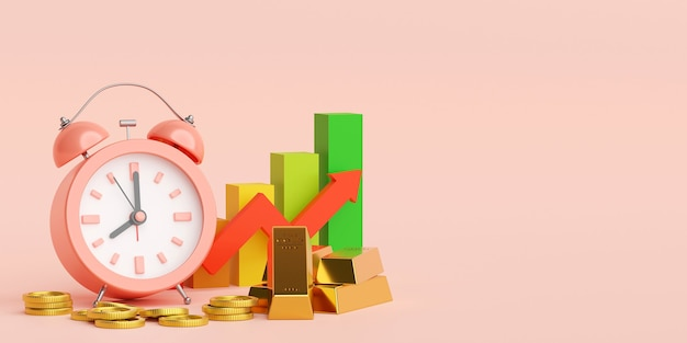 Sveglia, lingotto d'oro e moneta con crescita del grafico in alto, illustrazione 3d