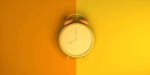 Sveglia su sfondo arancione e giallo. vista dall'alto. disposizione piatta. illustrazione 3d. bandiera.