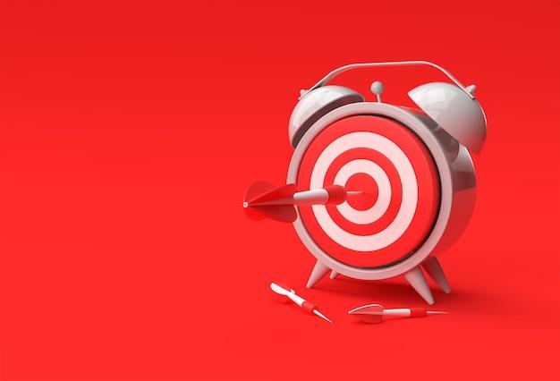 Sveglia target con freccia gestione del tempo, pianificazione, affari