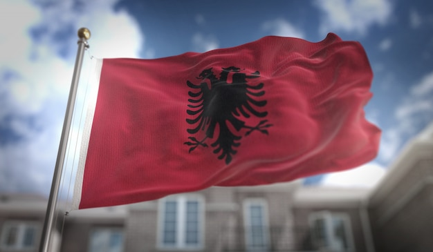Bandiera albania rendering 3d sullo sfondo del cielo blu