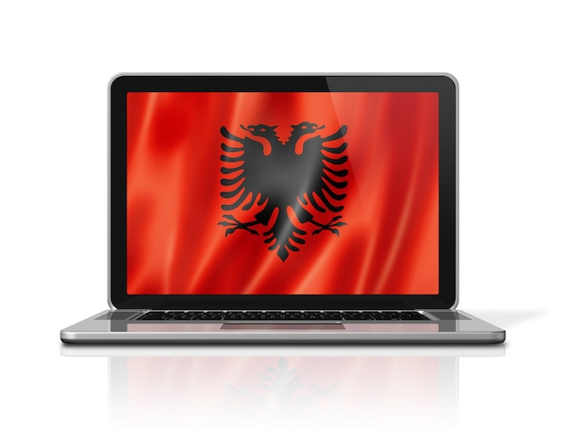 Bandiera dell'albania sullo schermo del computer portatile isolato su bianco. rendering di illustrazione 3d.