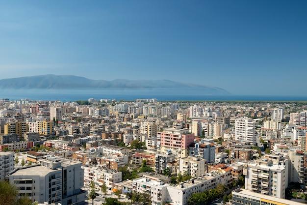 Albania, valona, paesaggio urbano visto dalla collina di kuzum baba.
