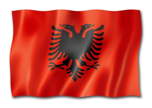 Bandiera albanese isolata su bianco