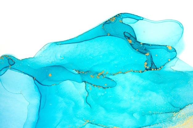 Gocce di inchiostro trasparente blu inchiostro alcol isolato su sfondo bianco white