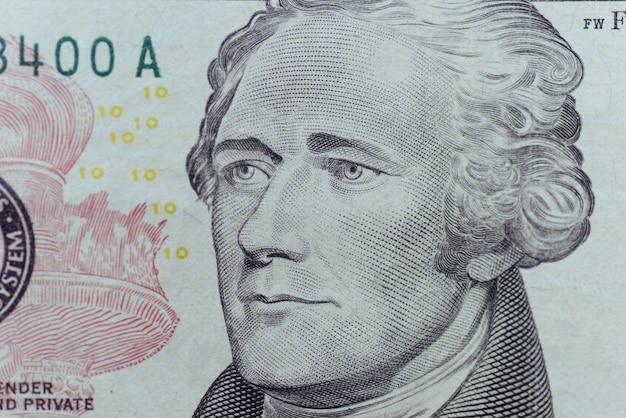 Alexander hamilton faccia sulla macro della fattura dei dieci o dieci dollari degli stati uniti, primo piano dei soldi degli stati uniti