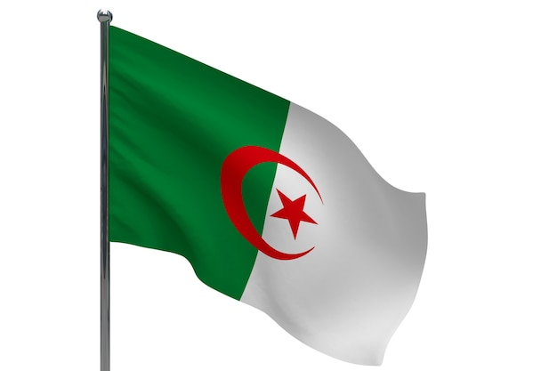 Bandiera dell'algeria in pole. pennone in metallo. bandiera nazionale dell'algeria 3d'illustrazione su bianco