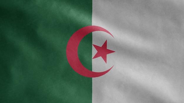 Bandiera algerina che ondeggia nel vento