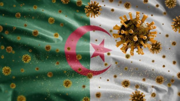 Bandiera algerina che sventola con il virus del microscopio del coronavirus