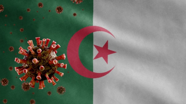 Bandiera algerina sventolante e virus del microscopio del coronavirus