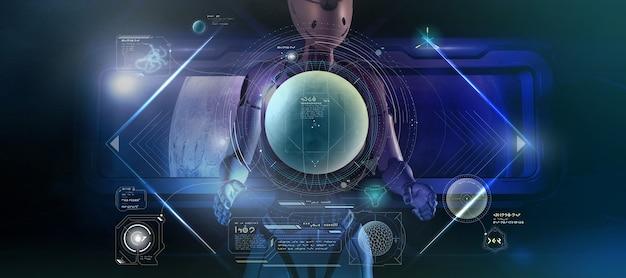 Un alieno sta studiando i dati su grafici futuristici 3d render