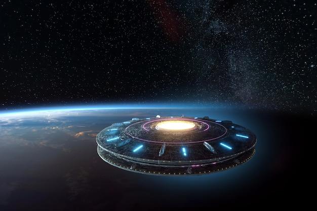 Spostamento dello spazio alieno che galleggia sulla terra