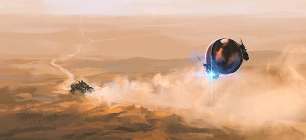 L'inseguitore alieno insegue gli esseri umani nel deserto, illustrazione 3d.