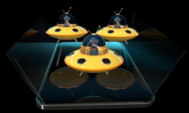 Alieni - illustrazione 3d