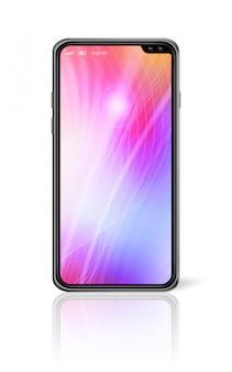 Modello variopinto a tutto schermo dello smartphone isolato su bianco. rendering 3d