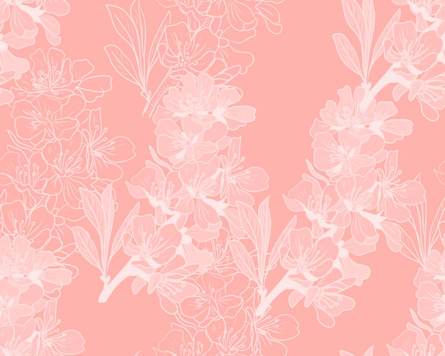 Modello disegnato a mano di fiori di mandorla