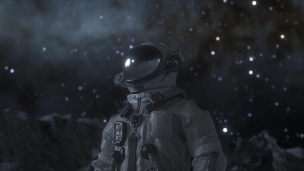 L'astronauta da solo si trova sulla superficie della luna tra i crateri. rendering 3d.