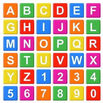 Alfabeto baby blocks lettere e numeri impostati su sfondo bianco