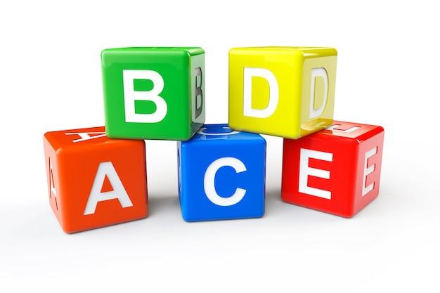 Concetto di alfabeto. cubi abcd su sfondo bianco