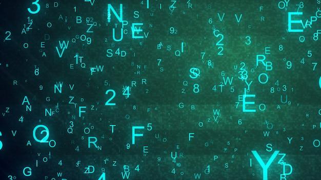 Lettere e numeri dell'alfabeto gettati casualmente nello spazio creando uno sfondo digitale astratto con rumore e distorsione