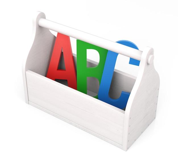 Lettere dell'alfabeto nella casella degli strumenti sfondo bianco isolato