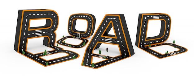 Simboli alfabetici delle figure sotto forma di una strada, segni di linea bianchi e gialli su sfondo bianco.