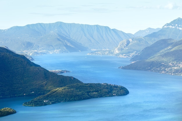 Alpine lake como summer view from mountain top (italia)