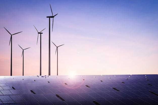 Concetto di energia alternativa con turbine eoliche di rendering 3d e pannelli solari