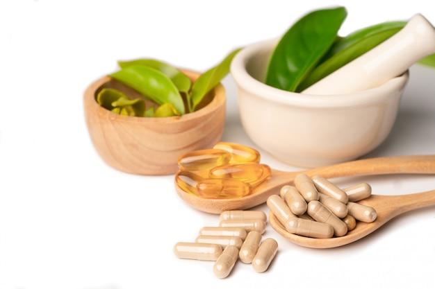 Capsula organica a base di erbe di medicina alternativa con olio di pesce omega di vitamina e.